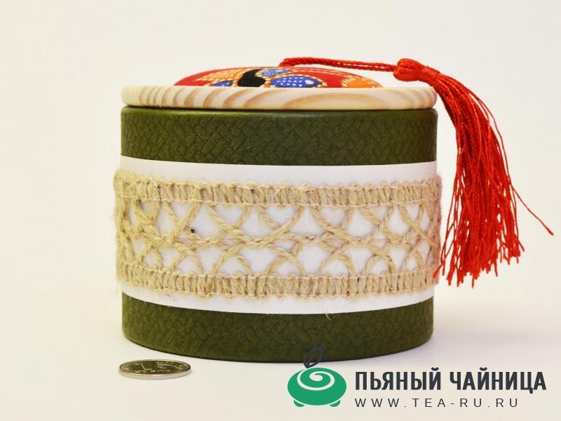 Чайница, дерево, картон, ткань, бечёвка